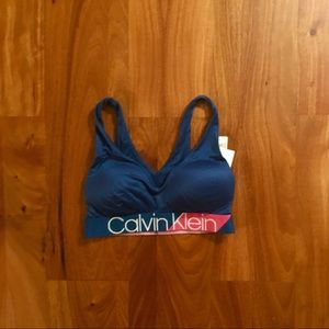 Blue Calvin Klein bralette with crossbody back